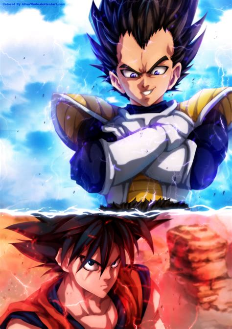 one anime vs goku vs vegeta in one punch style by allanwade on