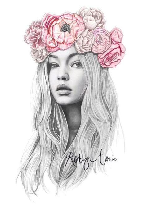 Flower Crown A3 gigi hadid flower crown fashion illustration portrait