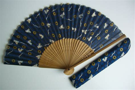 Handmade Fans - fan bamboo and fabric vintage japanese sensu by
