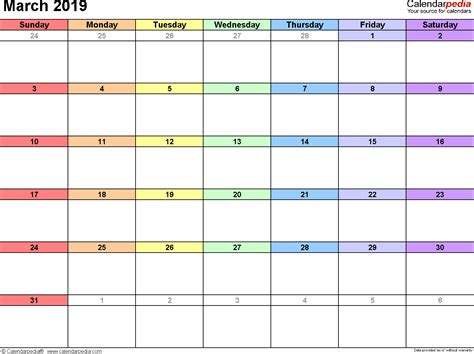 march  calendar templates  word excel