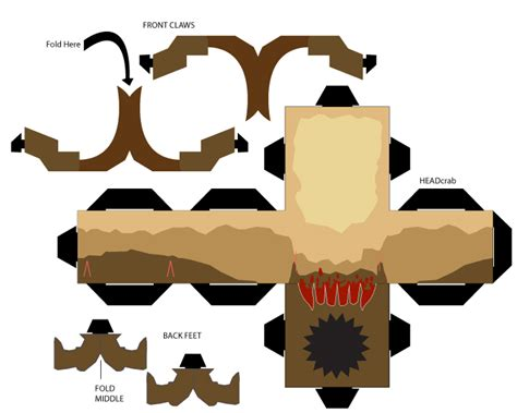 Half Papercraft - headcrab cubeecraft template by goatmangads on deviantart
