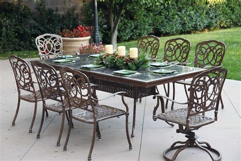 "Patio Furniture Dining Set Cast Aluminum 91"" Rectangular"