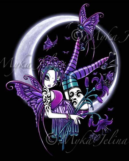 gothic fairy tattoos details about crescent moon print fae