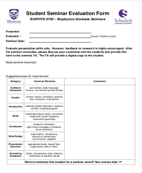 student contact form template 8 sle seminar feedback forms sle templates