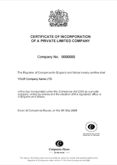 certificate of incorporation template index of docs sles