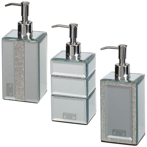 Mirrored Bathroom Accessories Sets Mirrored Diamante Soap Dispenser Home Bathroom B M