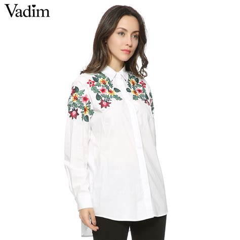 Kemeja Wanita White Floral Embroidered Shirt Size M 421362 cotton floral embroidery white blouse oversized sleeve shirt office