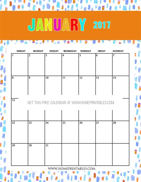 printable calendar cute 2017 free january 2017 calendar printable all new designs