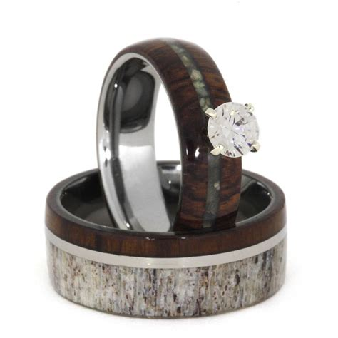 Wedding Wedding Rings by Unique Wedding Ring Set Antler Wedding Band Wood