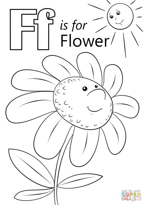coloring pages with letter f letter f is for flower coloring page free printable