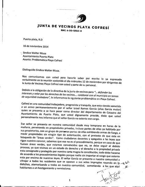 carta autorizacion junta vecinos notiplata cofres 205 y costambar denuncian quot mafia se apropia 193 reas verdes y solares privados