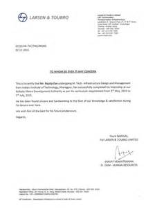 Letter Of Certification For Completion Of Internship L Amp T Internship Completion Letter