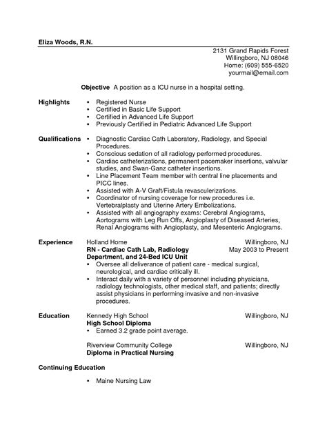 sle rn resume with experience registered resume exle sle sle nursing