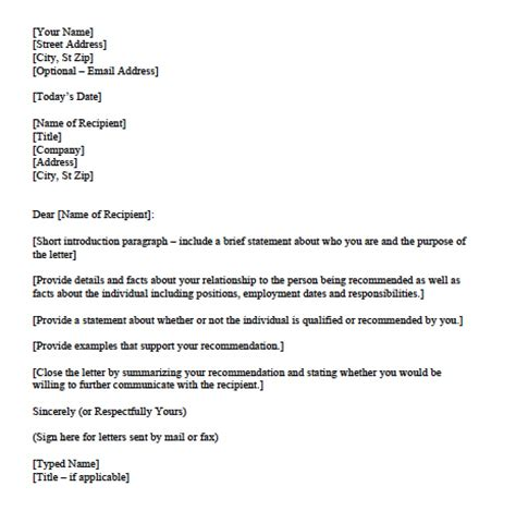 download personal character reference letter templates