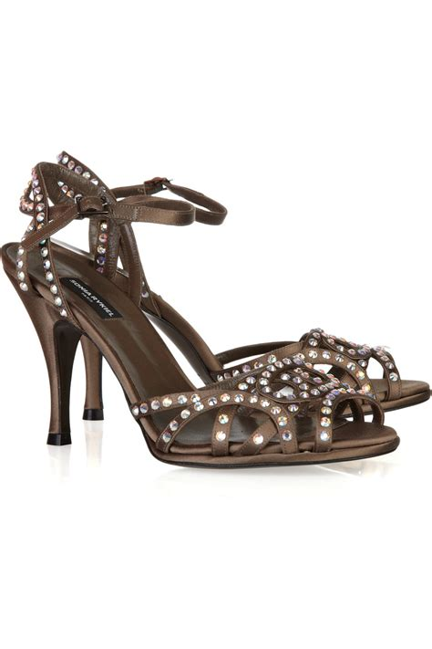 silver bling sandals rykiel rhinestone embellished satin sandals in