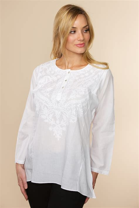 Tunic Fashion 11 white chikankari top made in cotton by artisans in india