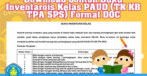 format buku inventaris kelas download contoh buku inventaris kelas paud tk kb tpa sps