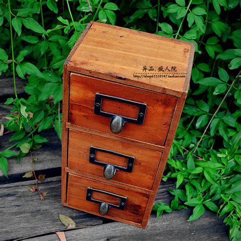 wooden desktop storage drawers zakka three drawers wood vintage retro finishing storage