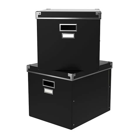 2x ikea kassett expedit bookcase storage boxes black ebay