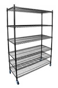 black chrome commercial 6 tier shelf adjustable steel wire
