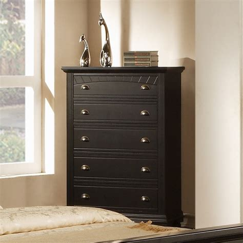 black bedroom dressers and chests napa 5 drawer black chest contemporary by overstock com