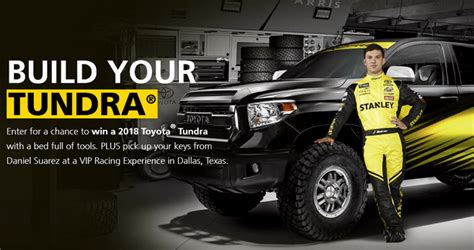 Auto Sweepstakes 2017 - stanley build your tundra sweepstakes 2017 enter for your chance to win