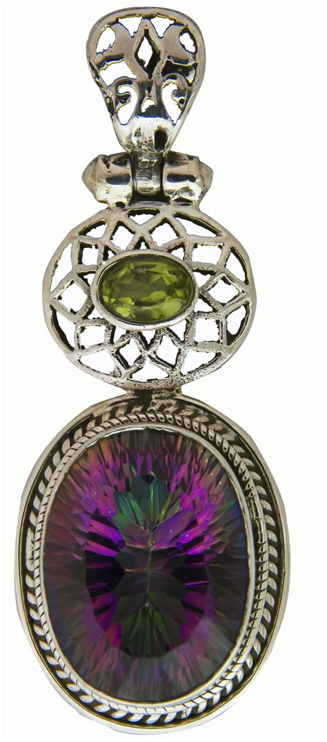 mystic topaz oval pendant with faceted peridot