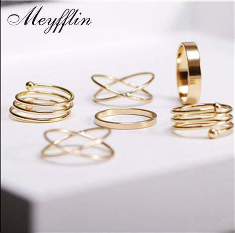 fashion ring set gold knuckle rings for finger