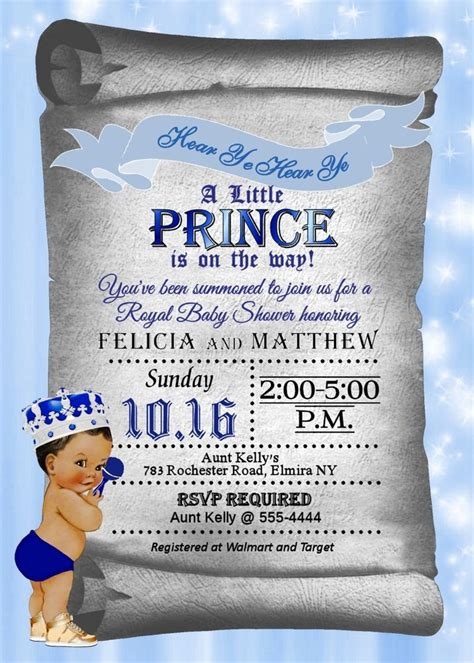 prince baby shower invitations baby boy shower