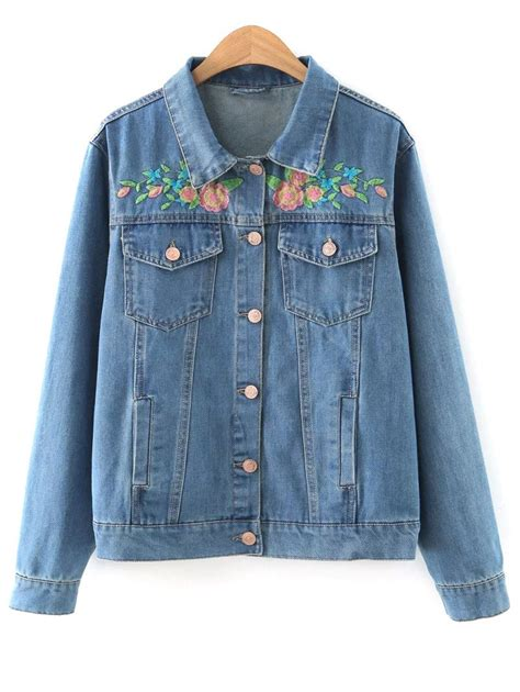 S Casual Regular Outdoor Jackets Denim Jackets With jackets denim blue embroidered denim jacket gamiss