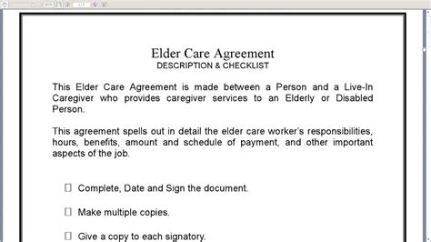 caregiver agreement template elder care agreement