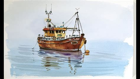 old fishing boat images pen and wash watercolor demonstration old fishing boat