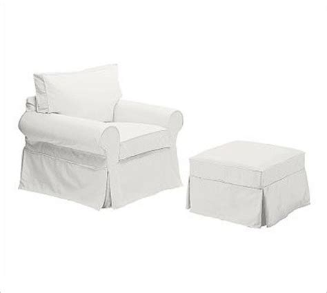 Slipcover Chair And Ottoman Pb Basic Ottoman Slipcover Denim Warm White Traditional Slipcovers And Chair Covers By