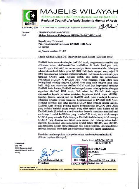 yakin usaha sai surat mw kahmi aceh kepada penerima