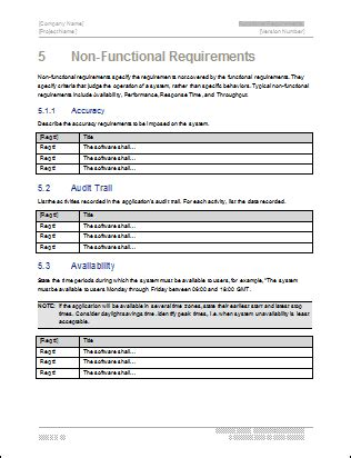 non functional requirements template functional requirements template technical writing tips