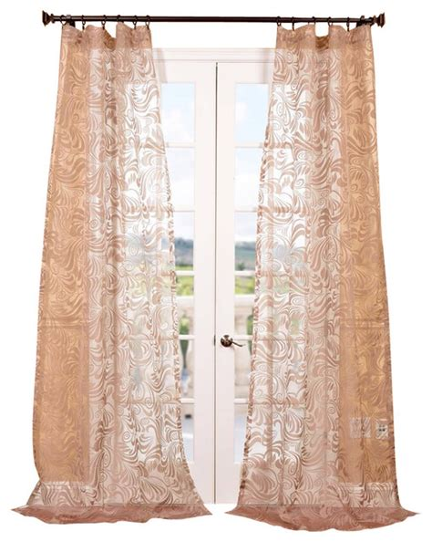 sheer taupe curtains sabrina taupe patterned sheer curtain single panel