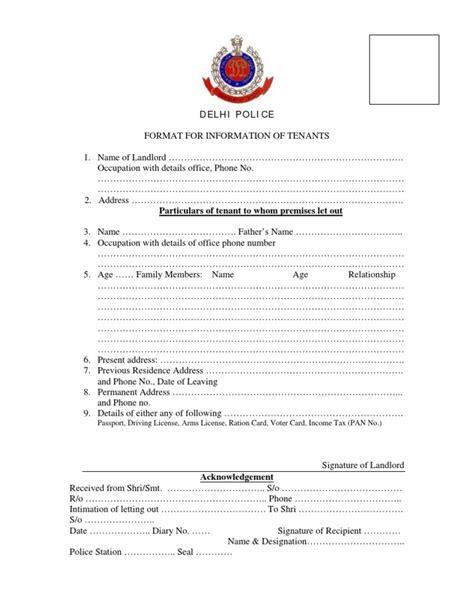 Verification Letter Delhi Tenant Verification Form