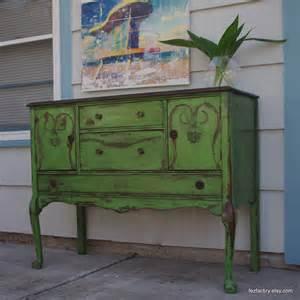 green buffet curvy green distresed antique sideboard