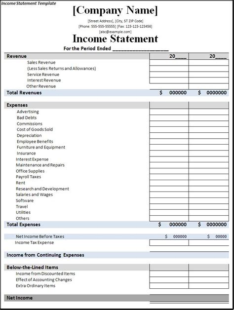 income statement template free formats excel word