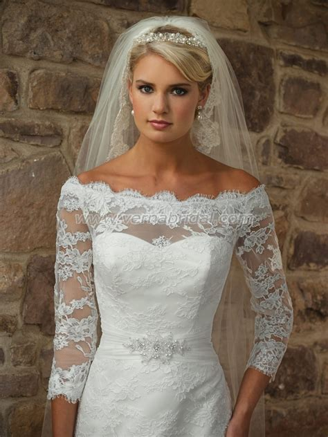 Romantic Wedding Dresses with Lace Sleeves   Sangmaestro