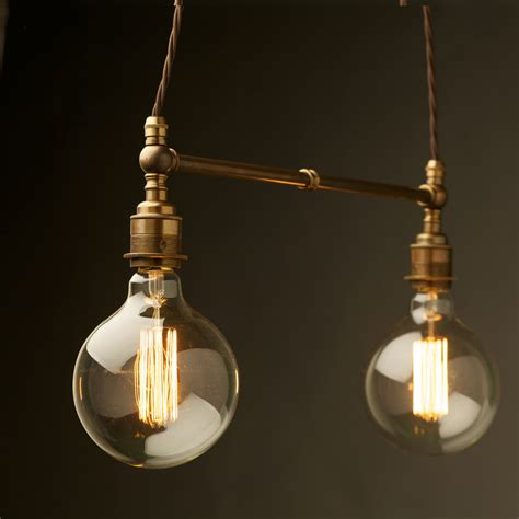 Two Light Shade Brass E27 Pendant Pendants Lights