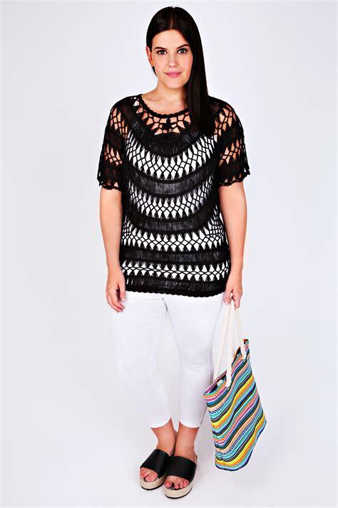 Top Knit 26 black open crochet knit top plus size 16 to 32
