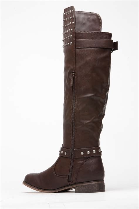 breckelles light brown fall stud knee high rider boot