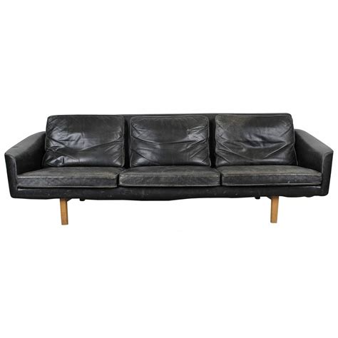 Modern Black Leather Sofas Mid Century Modern Black Leather Sofa At 1stdibs
