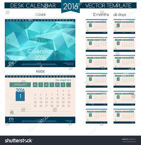 design table calendar 2016 design desk calendar 2016 vector templates stock vector