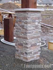 Stacked stone work great wrapping a column and protect it from harsh