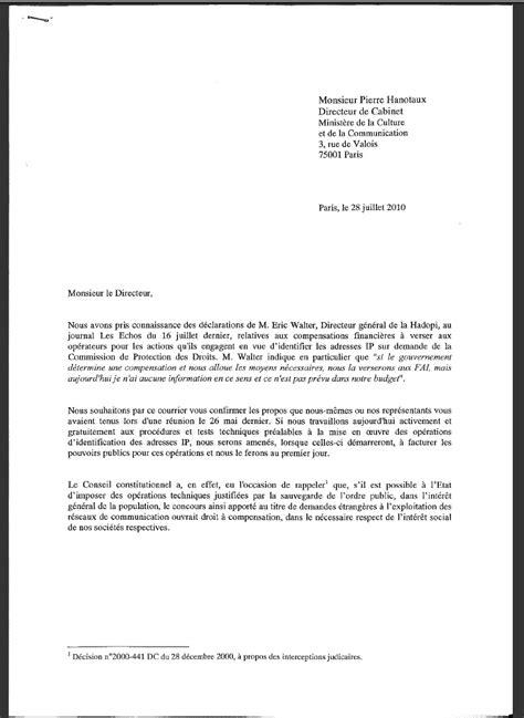 Exemple De Lettre Pour Un Ministre Co 251 Ts De L Hadopi La Lettre Envoy 233 E Par Les Fai Au Minist 232 Re