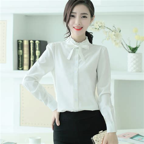 Bow Neck Chiffon Shirt ruffle collar shirt bow tie chiffon button blouse
