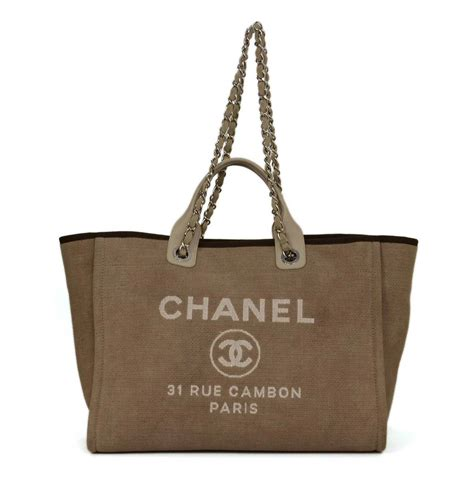 Chanel Deauville 2 chanel beige canvas medium deauville tote bag shw at 1stdibs