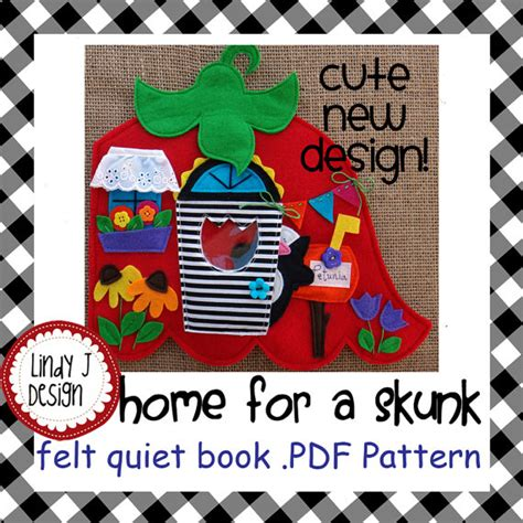 etsy quiet book pattern home for a skunk quiet book pdf pattern